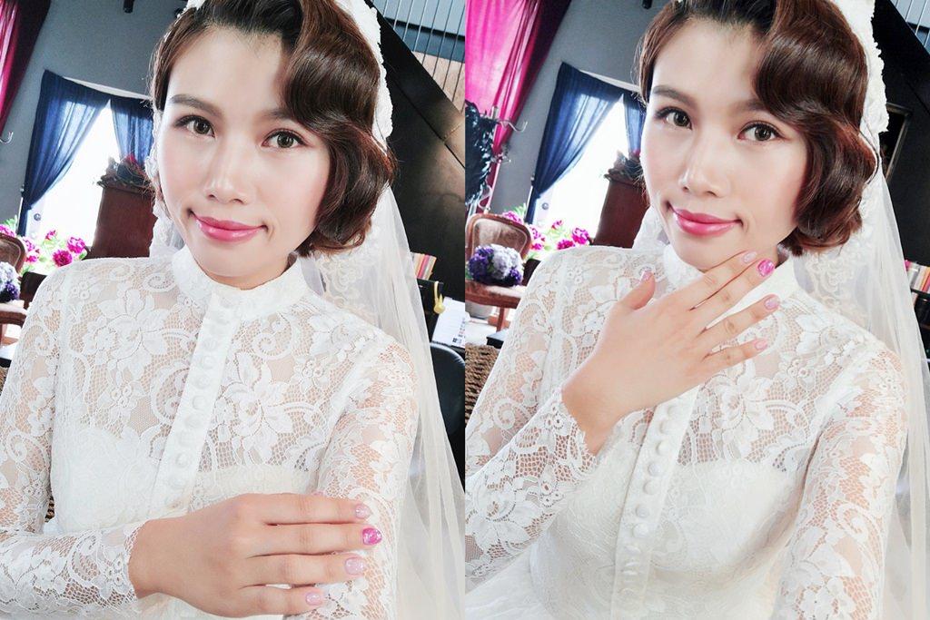美甲│粉色系大理石紋~優雅浪漫的婚紗款美甲。新竹粉粉美甲工作室*